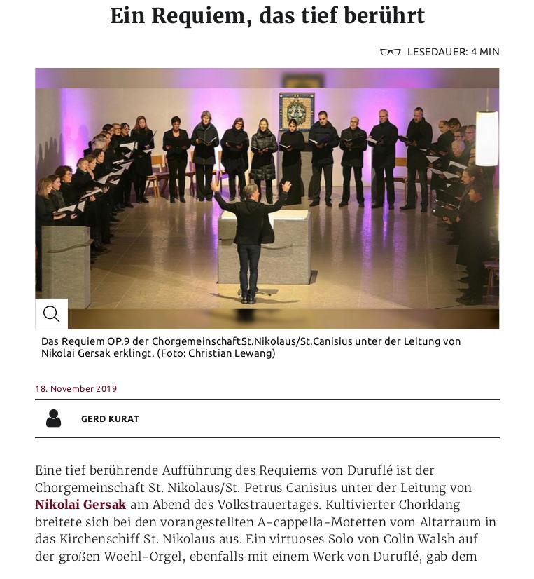 image from Konzertkritik: Ein Requiem, das tief berührt